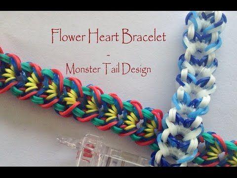 Flower Heart Bracelet - Monster Tail Design