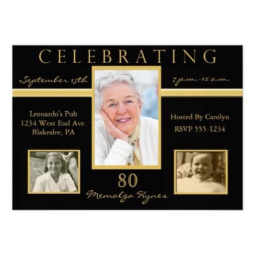 80th Birthday Party Tri Photo Invitations