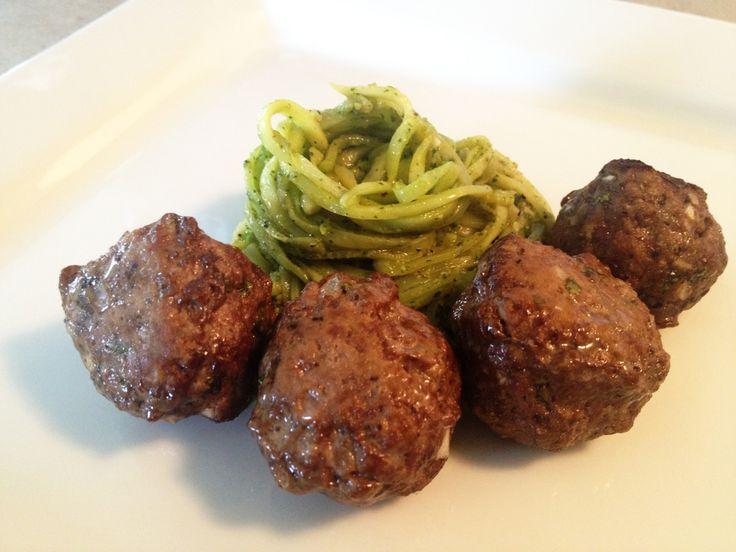 Paleo Pesto Meatballs & Roasted Zucchini Noodles