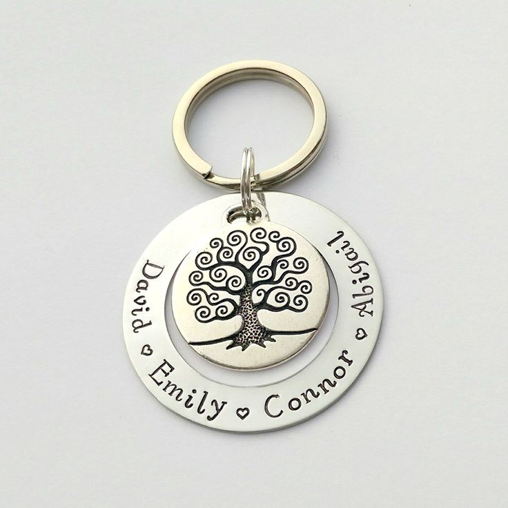 Personalised family tree keyring - personalized keychain, present for mum mom, Gift for nanny grandma, family name keyring, birthday present by EmsStampedJewellery on Etsy