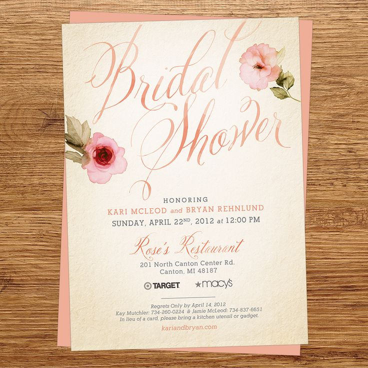 recipe themed bridal shower invitation wording%0A Watercolor Flower Bridal Shower Invitation with Recipe Card