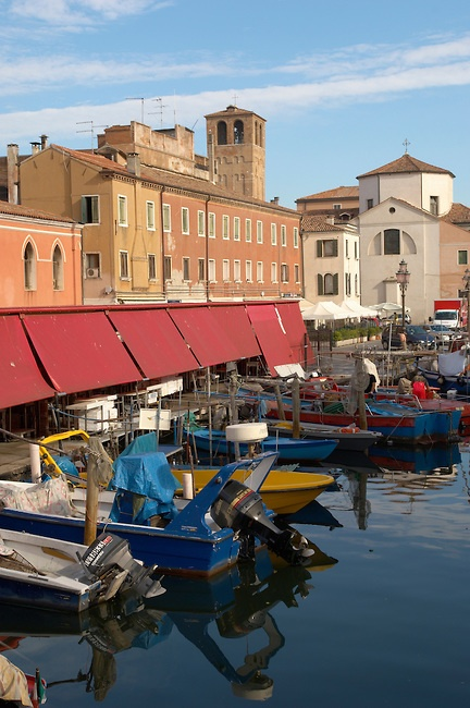 Fishing Boats outside the fish market on Riva Vena canal - Chioggia - Venice - Italy. Photo: Paul Williams