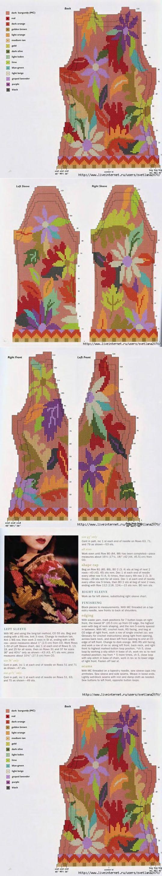 Жакет с цветами спицами | вязание(жаккард,вышивка) | Постила