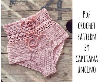 This listing is PDF CROCHET PATTERN for Lorelei Bikini top and Brazilian Bottom, Not finished items:) Skill level: INTERMEDIATE (easy) You should know the basic stiches: chain stitch, single crochet, slip stitch, double crochet. All the other stitches used in the pattern are explained.  This pattern is written in standard American terms and includes lot of photos of the process and little piece of chart for the edging. Pattern includes instructions for the following sizes XS,S,M,L Gauge…