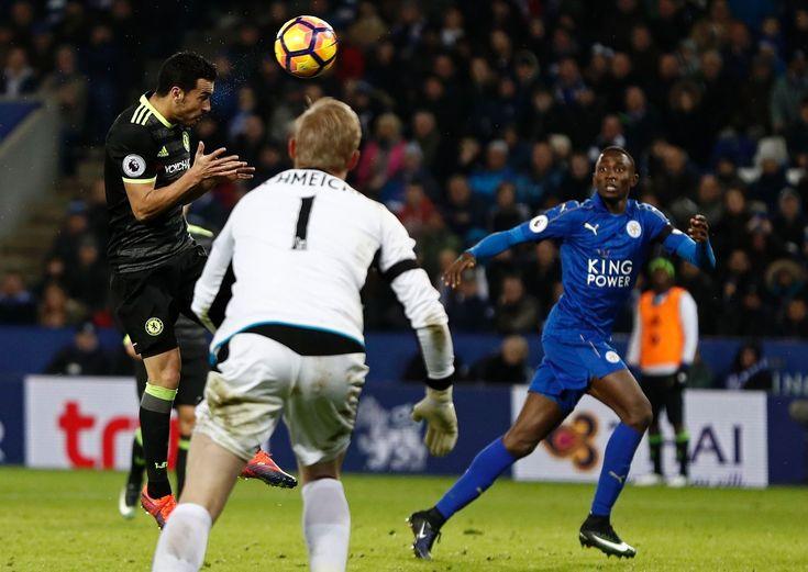 Pedro heads home their third goal: Leicester 0-3 Chelsea, 14 Jan 17