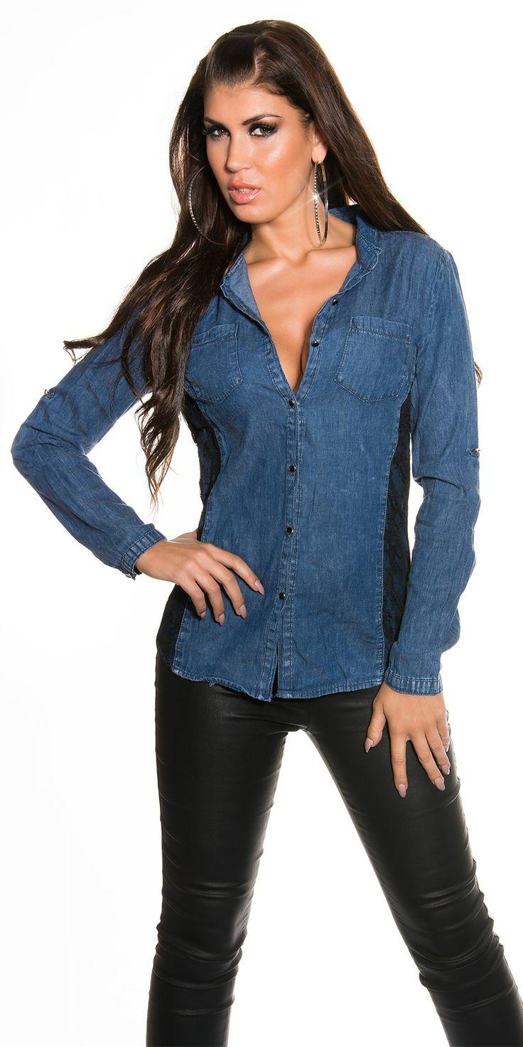 Chemise en jeans avec dentelle noir