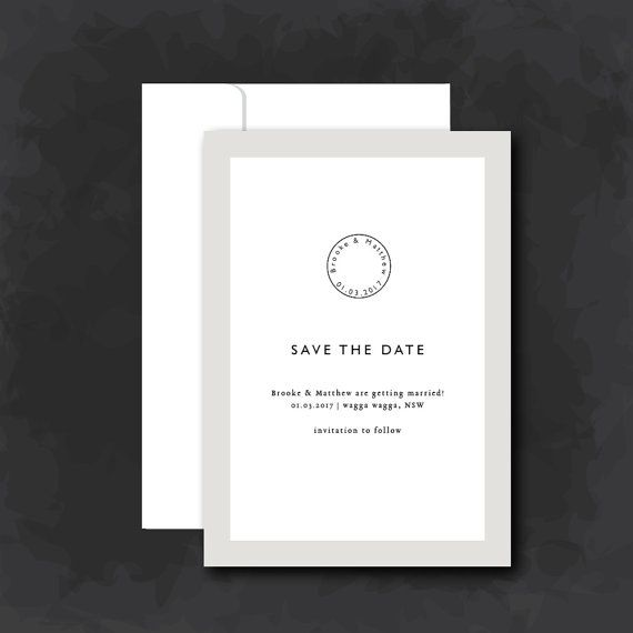 Save the Date | Rustic cream and white with stamp | DIY print | Wedding