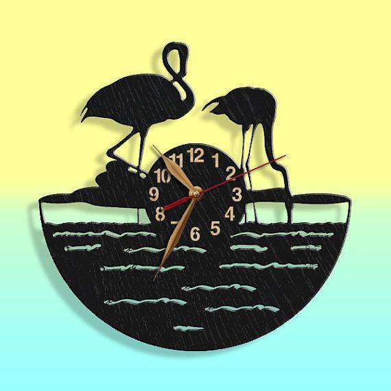 Wandklok Flamingo vogel hout klok wilde natuur door PerAsperaAd