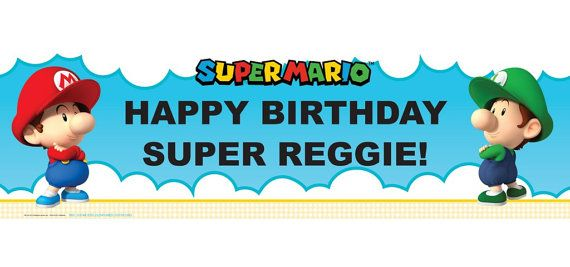 Super Mario Bros Babies Personalized Happy Birthday Banner 5ft, Mario Bros Baby Boy Birthday Party Banner  These are great for a Child's Party!