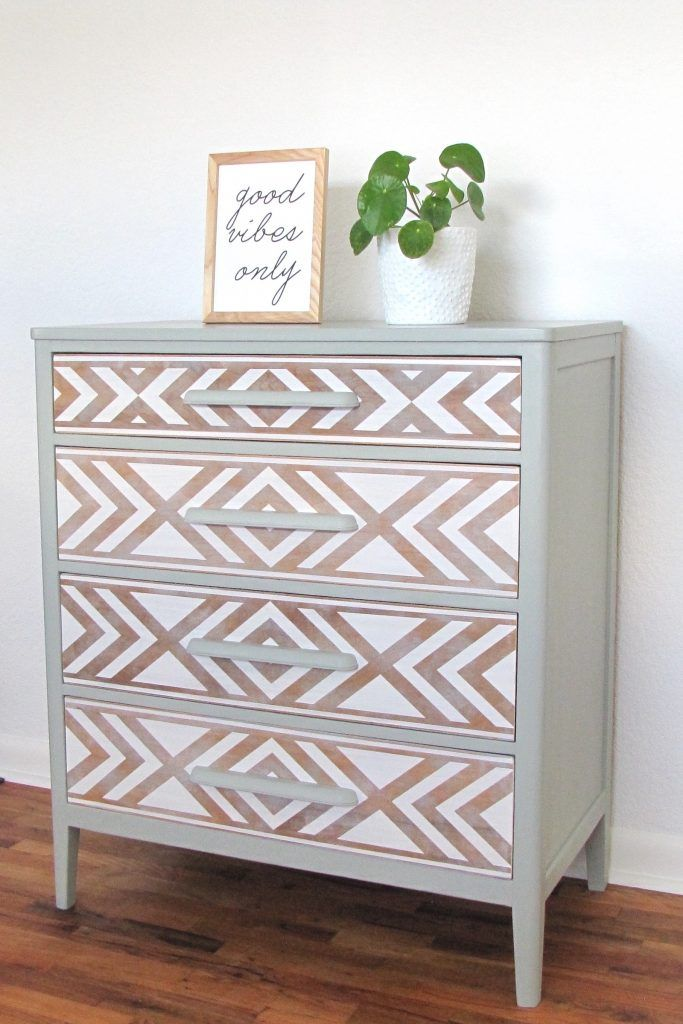 Em & Wit Furniture Design~Before and After: Tribal Dresser using Frog Tape