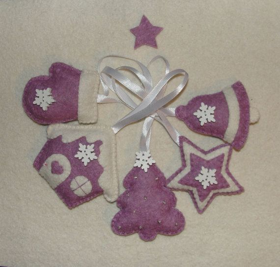Christmas Wool Felt Ornament Set of 5 Christmas Tree by NitaFeltThings
