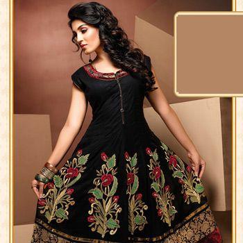 #Black Cotton Cambric Readymade Long #Kurta