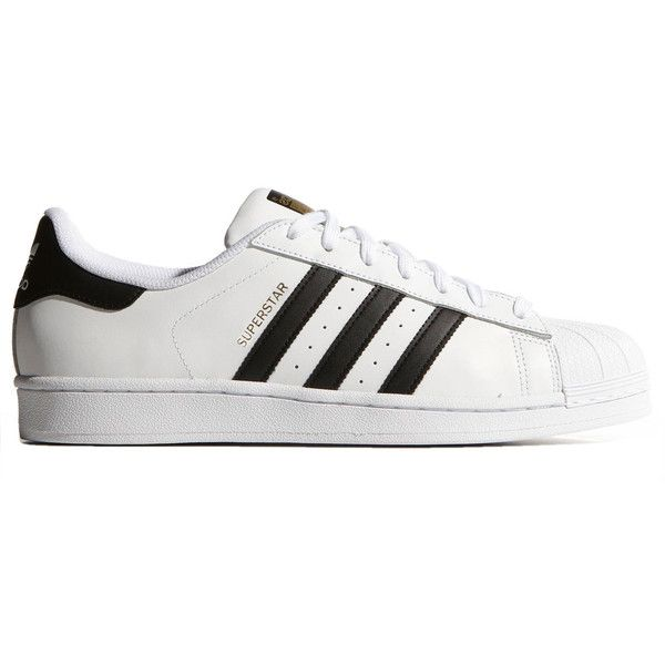 Adidas Originals Superstar Sneakers (350 RON) ❤ liked on Polyvore featuring shoes, sneakers, adidas, white, adidas originals shoes, striped sneakers, unisex shoes, white shoes and stripe shoes