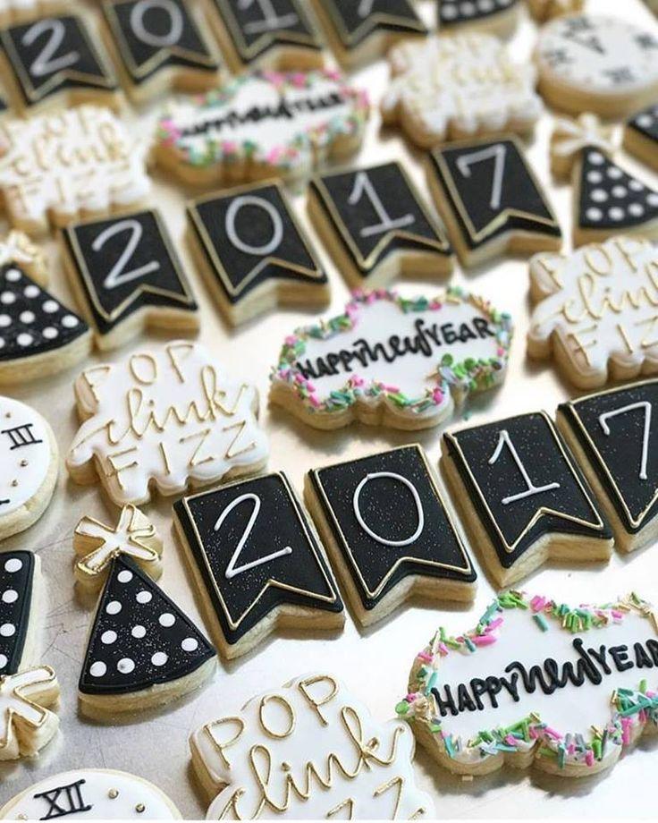 Cute New Year's Cookies-Decorated Sugar Cookies