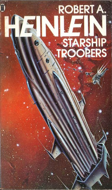 Starship Troopers by Robert Heinlein. NEL 1977. Cover artist Gordon C Davies by pulpcrush, via Flickr