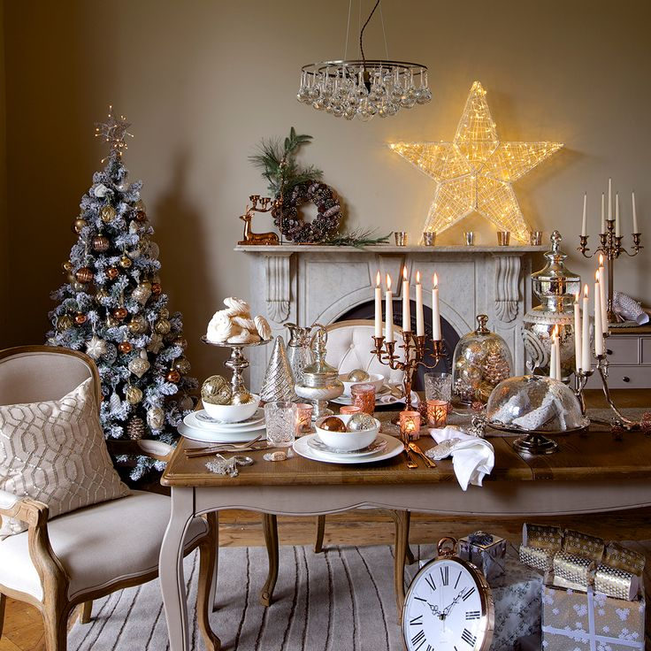 Magical woodland Christmas theme, Marks & Spencer.  For more table decoration ideas, visit goodhousekeeping.co.uk/christmas