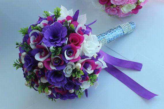 Handmade Wedding Blooming Rose Bouquet Purple Theme by Qiinac