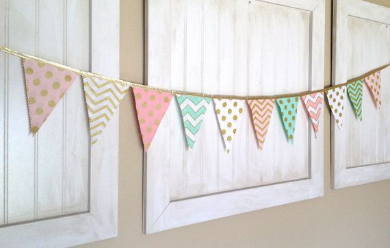 Metallic Gold Pink Mint and White Pennant Fabric by pearlandjane