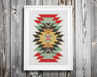 Modern cross stitch pattern Navajo cross stitch Indian от Xrestyk