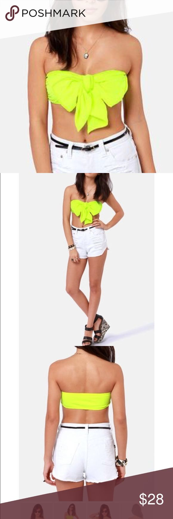 Neon yellow bow bandeau top Never worn. I also have a matching skater skirt for a super cute set! 😊 Tops