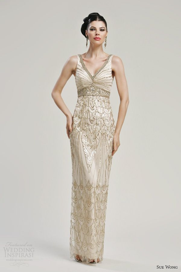 sue wong 2013 sleeveless wedding dress style n3149 gold accents