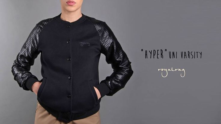 """""""Hyper Uni"""" varsity is here!  www.royalrag.eu #royalrag #college #varsity #leather #black #totalblack #style #hyper"""