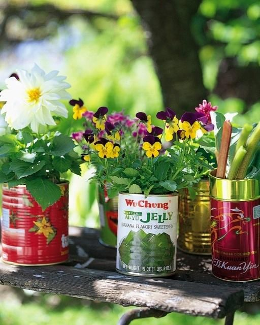 Recycled Herb Planters by sweetpaulmag: Save up those cool cans from the kitchen. #Planter #Cans #Upcycle