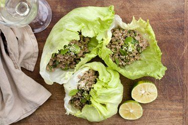 Vietnamese lettuce wraps with minced pork
