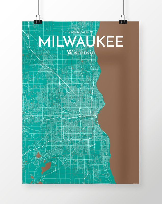 Milwaukee City Map' Graphic Art Print Poster in Green