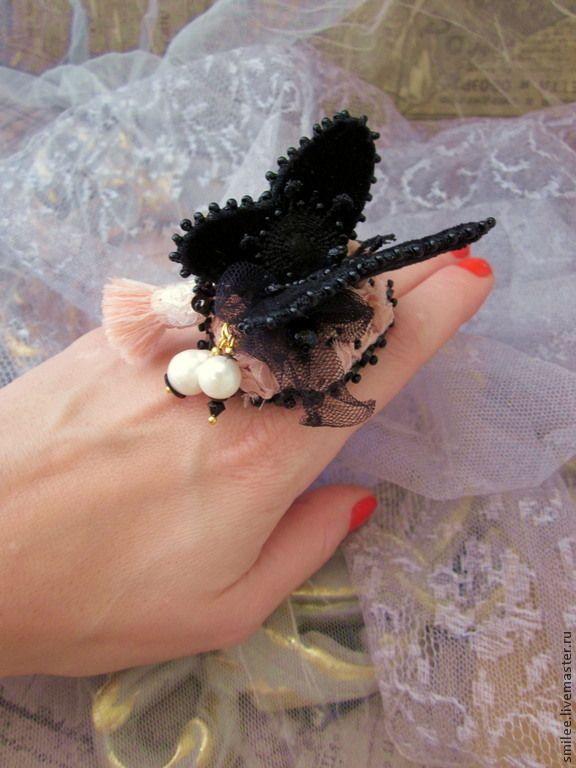 """Купить Кольцо ручной работы """"Nigrum Cardinali"""" - кольцо, украшения ручной работы, украшение с жемчугом"""