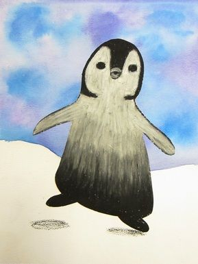 Penguins using pastels to teach value (3rd grade)