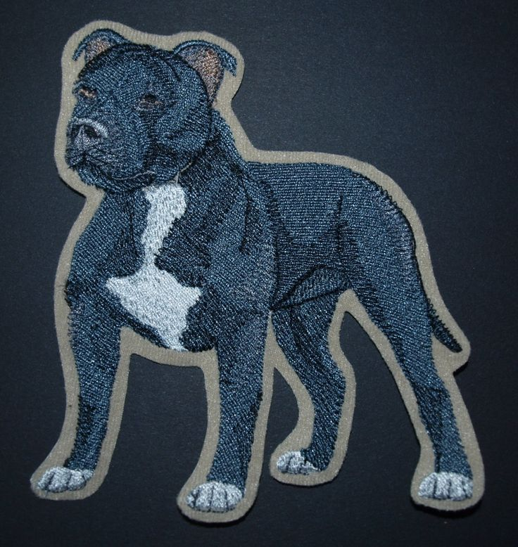 Staffordshire bull Terrier Embroidered Stick on, Glue on , Iron on, Sew On Patch Accessory Motif by woosbagsandcrafts on Etsy