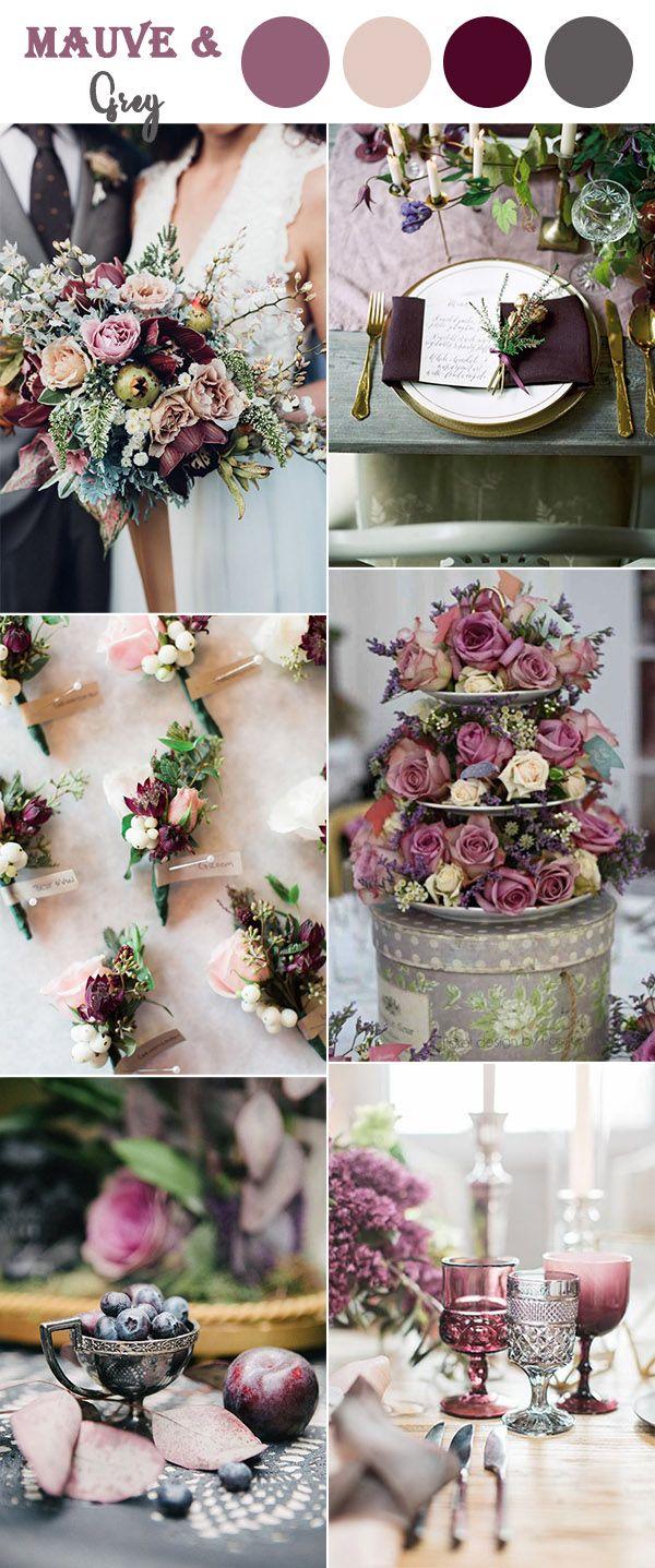 mauve,purple and grey vintage wedding colors ideas