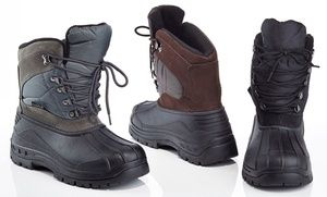 Keep feet dry with these weatherproof snow boots with duck boot design that features a soft faux-fur lining and cuff for added warmth