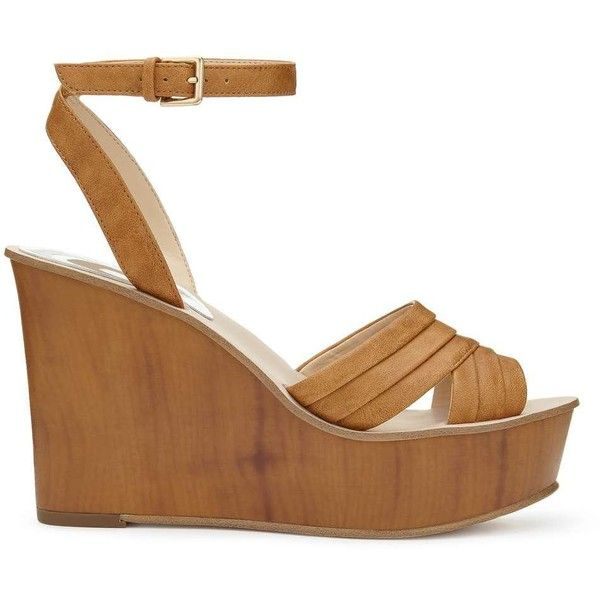 Miss Selfridge MONA Pleat Wedge Sandals (140 BRL) ❤ liked on Polyvore featuring shoes, sandals, tan, tan wedge shoes, high heel wedge shoes, tan shoes, wedge sole shoes and high heels sandals