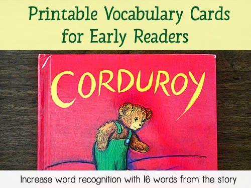 Corduroy Printable Vocabulary Cards - Download 16 printable vocabulary words taken from the story
