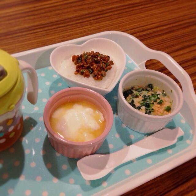 ♢納豆粥 ♢鮭とほうれん草のクリーム煮 ♢甘夏ヨーグルト ♢麦茶 - 6件のもぐもぐ - 離乳食 by kaiton0312
