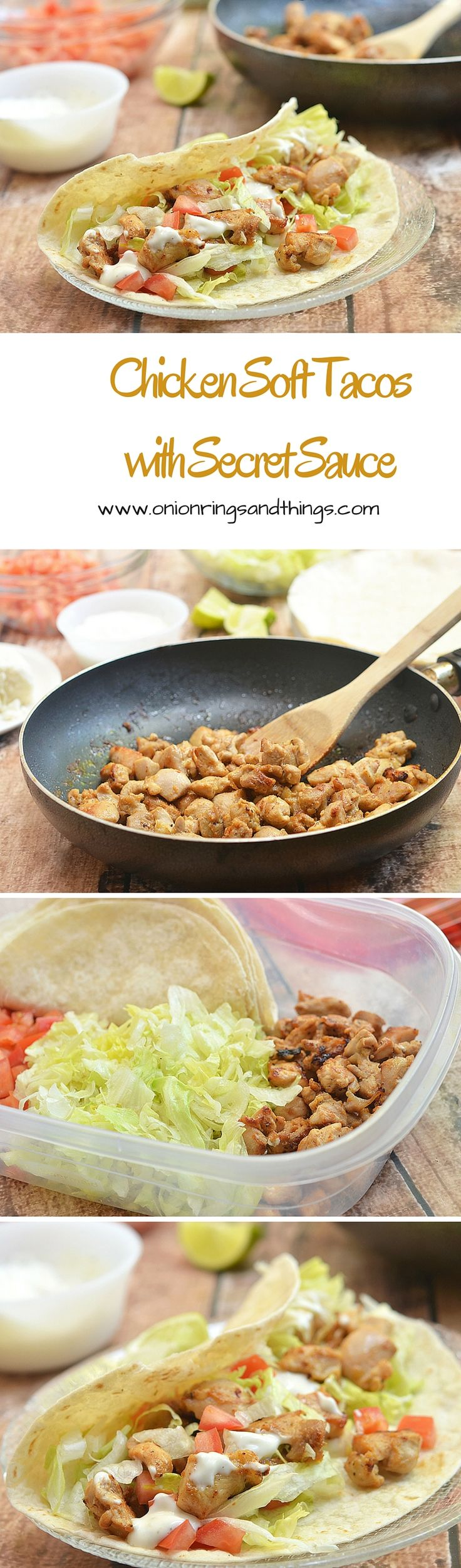 Chicken Soft Tacos with Secret Sauce are made what's for dinner! With flavorful chicken morsels, taco fixings wrapped in soft tortillas and drizzled with a dreamy Del Taco-inspired sauce, they are quick and easy to make yet packs big, bold flavors