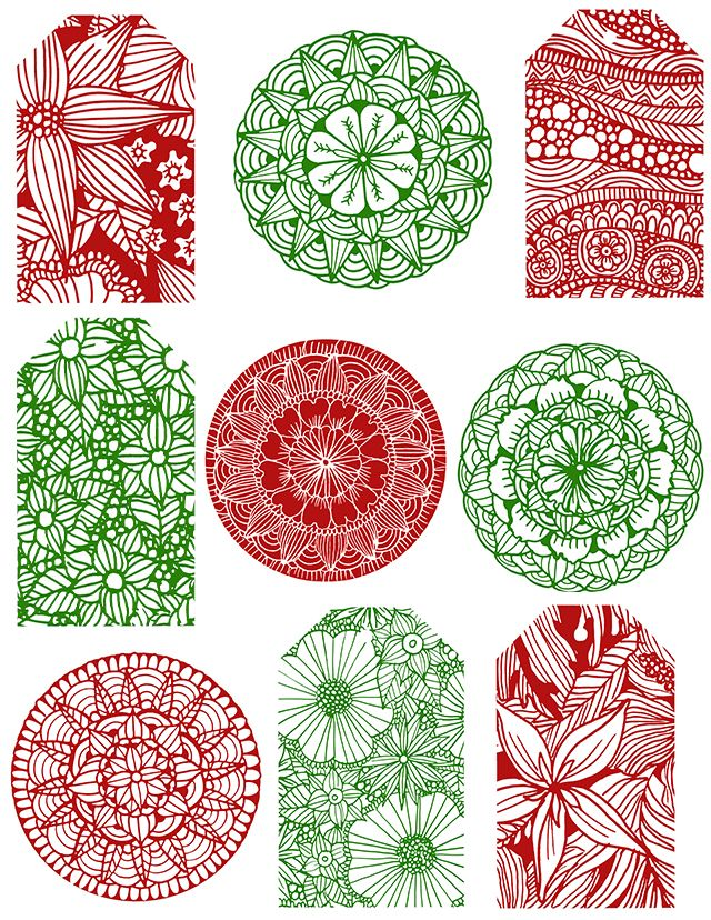 Christmas gift tags free download from artist Alisa Burke
