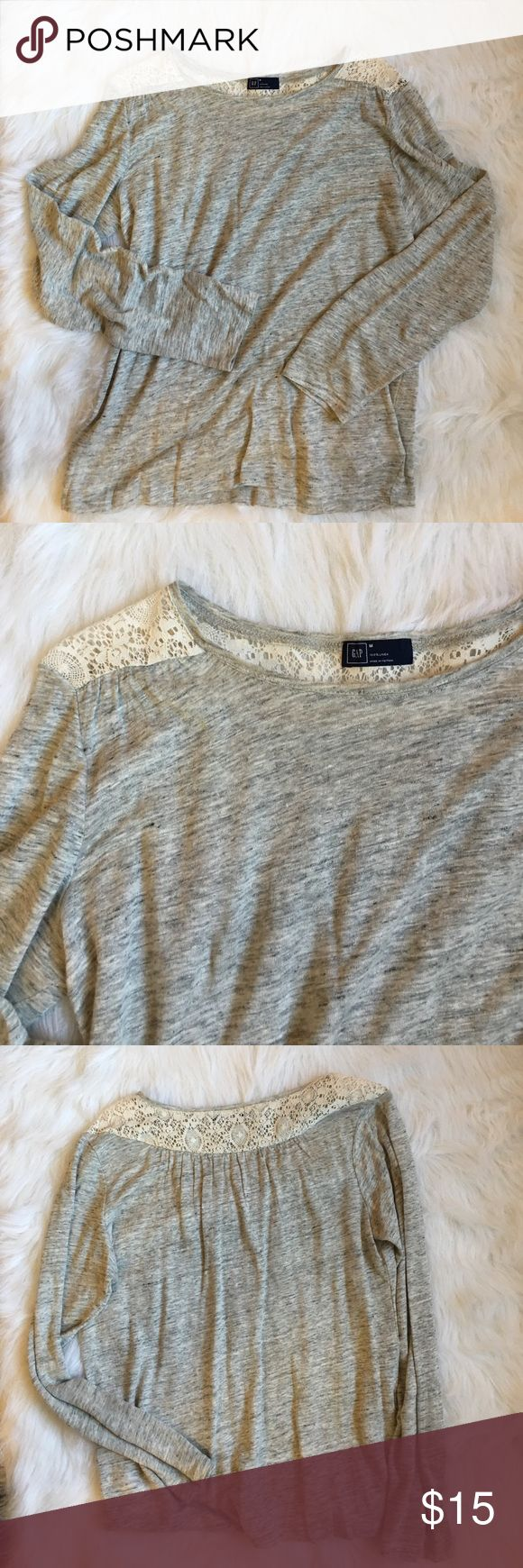 Lightweight long sleeve tee Really cute top. Somewhat sheer. Pretty lace detail. EUC GAP Tops Tees - Long Sleeve