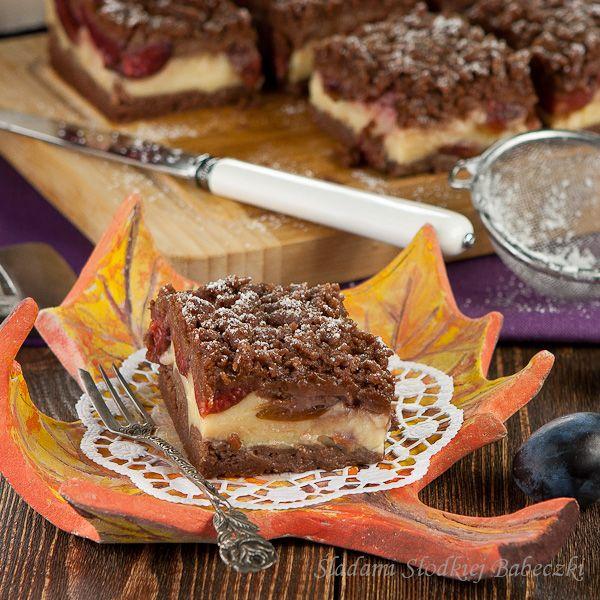 Ciasto ze śliwkami i budyniem | Cake with plums and custard