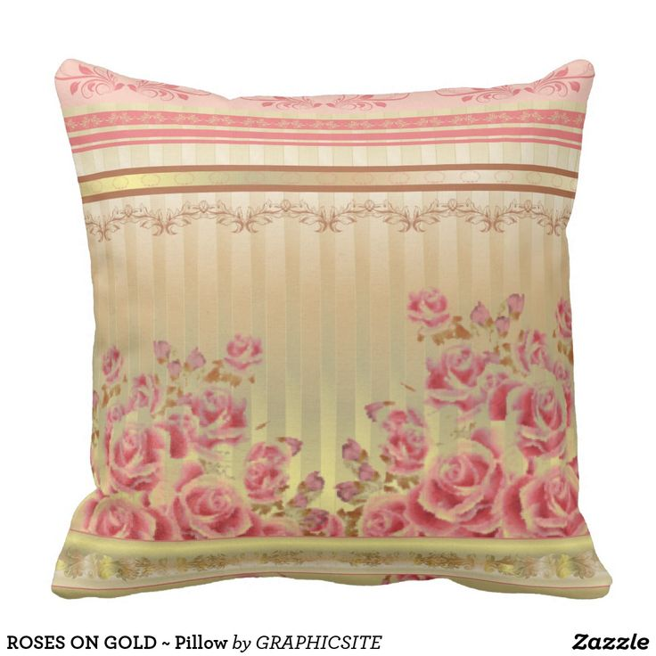ROSES ON GOLD ~ Pillow