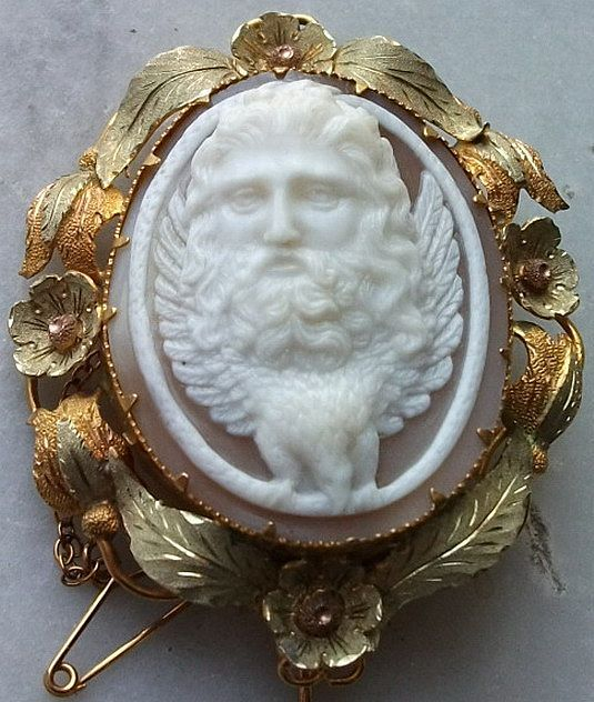 Amazing Front Face Shell Cameo Brooch of Zeus, Victorian ca 1850 from antiquecameos on Ruby Lane