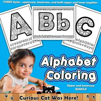 Alphabet:  Alphabet Letters Coloring Pages.  Includes uppercase and lowercase pages along with both on one page.  #alphabet