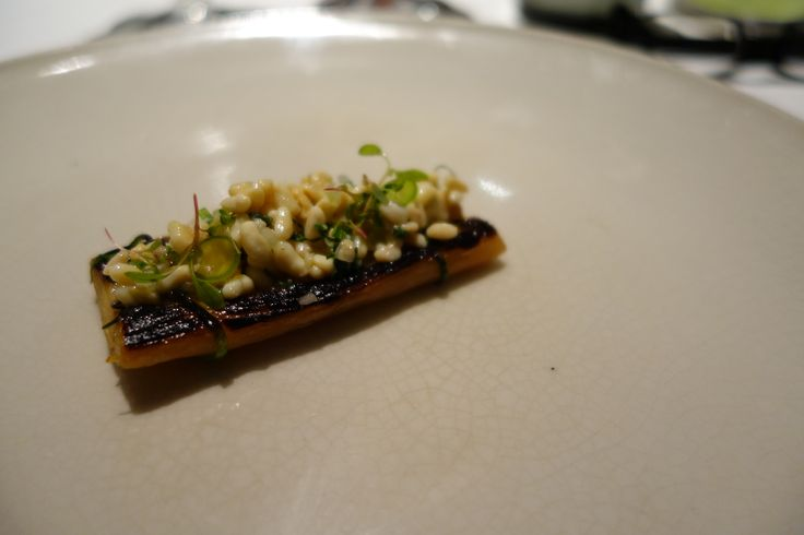 "Pujol ""Grilled leek with bone marrow mayonaise and escamoles"""