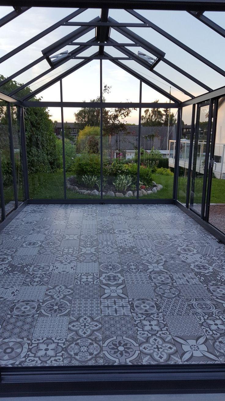 Klinkergolv, Willab Garden Green Room, Gewächshaus