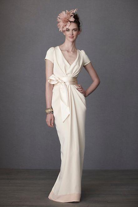 Crepe De Chine Column Wedding Gown. I like the general shape, but I'd like a dress with a train.
