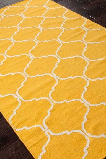 Addison Banks Flat Weave Geometric Pattern Wool Handmade Rug Yellow