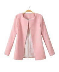 Pink Collarless Slim Woollen Coat pretty in pink give AW a blush