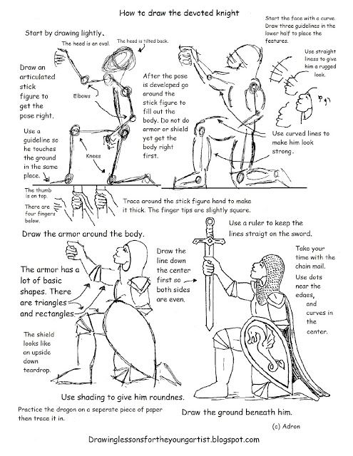how to draw worksheets for the young artist how to draw the devoted knight worksheet and lesson. Black Bedroom Furniture Sets. Home Design Ideas